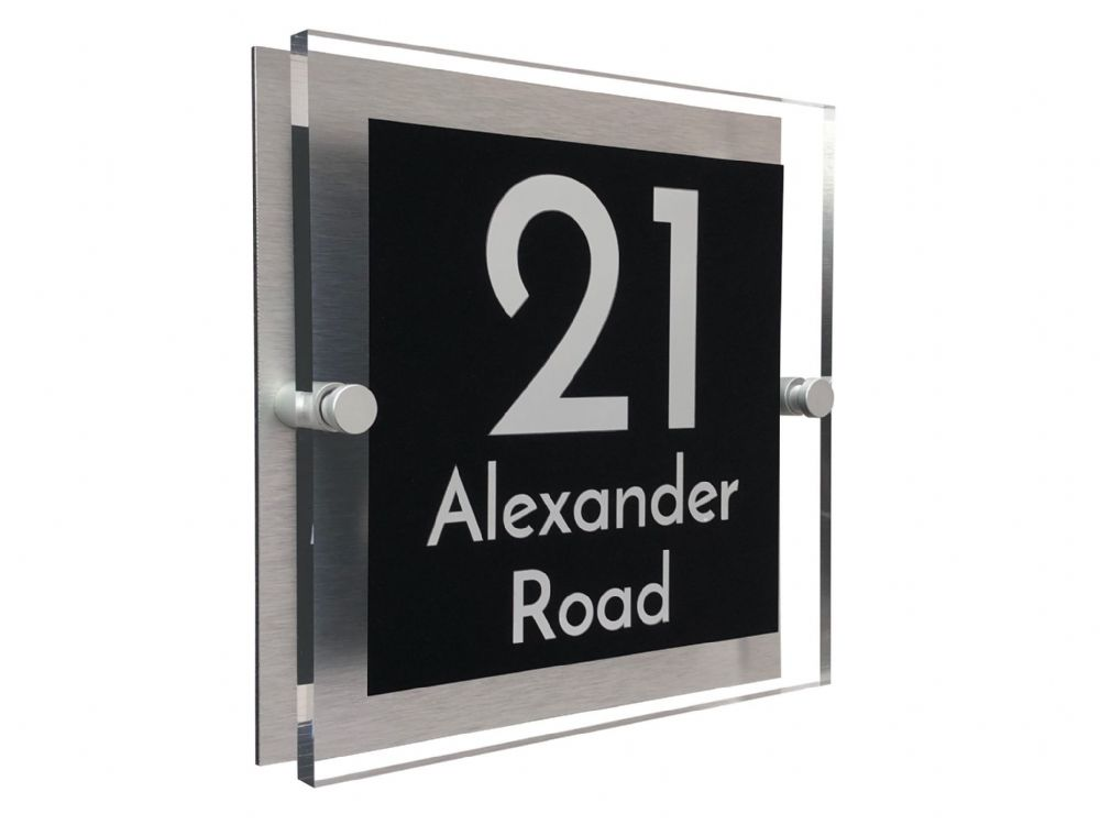 Block Shape - Clear Acrylic House Sign - Black Colour with White text in Font  3